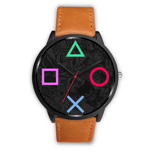 PS4 Gamer Unisex Watch, Real genuine leather / stainless steel band