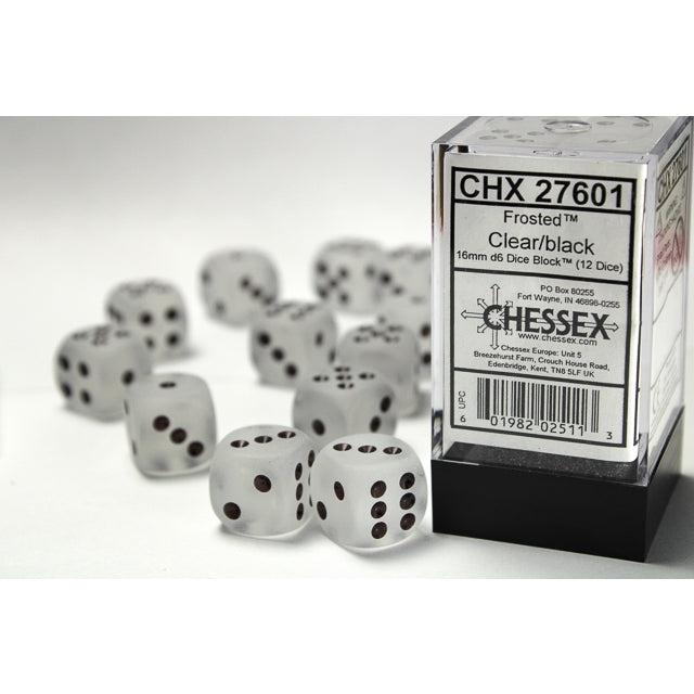 Chessex: Frosted™ 16mm d6 Clear/black Dice Block™ (12 dados)-RedQueen.mx