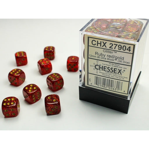 Chessex: Glitter 12mm d6 Ruby/gold Dice Block™ (36 dados)-RedQueen.mx