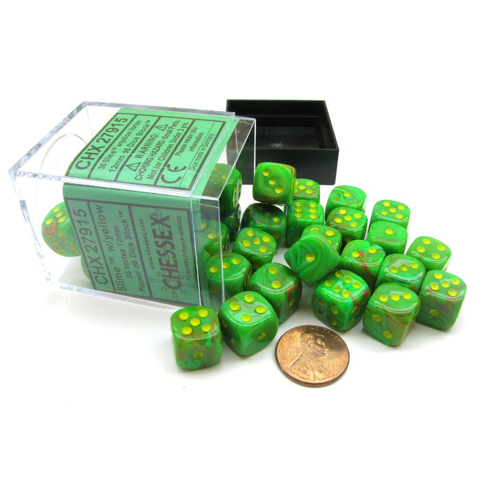 Chessex: Vortex® 12mm d6 Slime/yellow Dice Block™ (36 dados)-RedQueen.mx