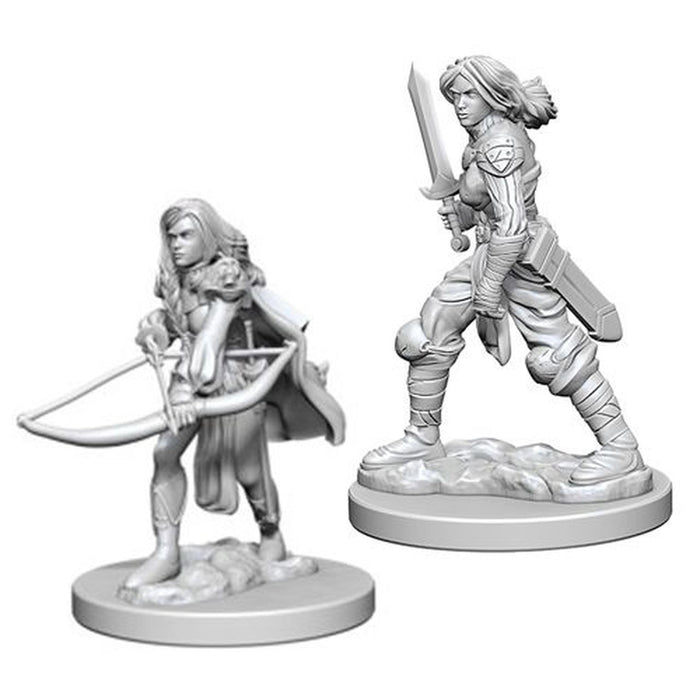 Human Female Fighter (2) - Pathfinder Battles Miniatures:-RedQueen.mx