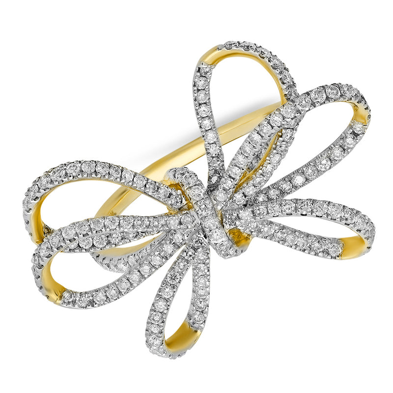 oversized 14k yellow gold diamond bow ring