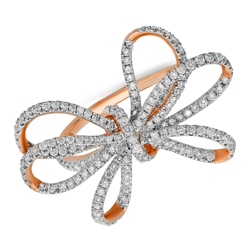 14k genuine diamond rose gold sold bow ring