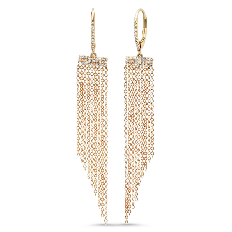 Diamond Tapered Fringe Earring