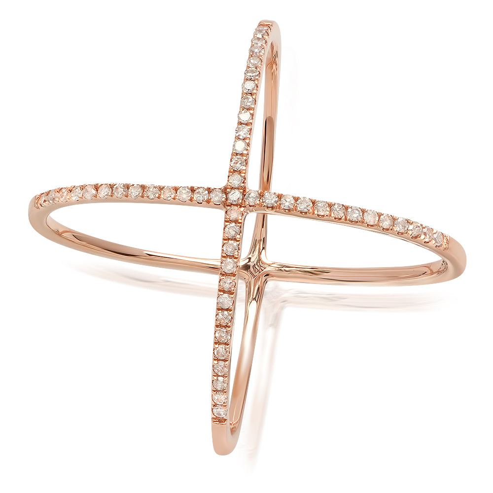 14k rose gold diamond x ring