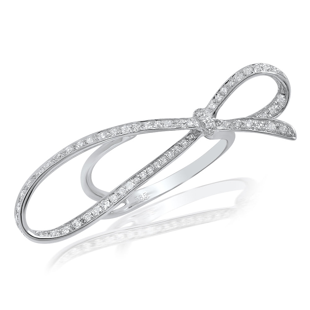 Diamond Elongated Bow Ring