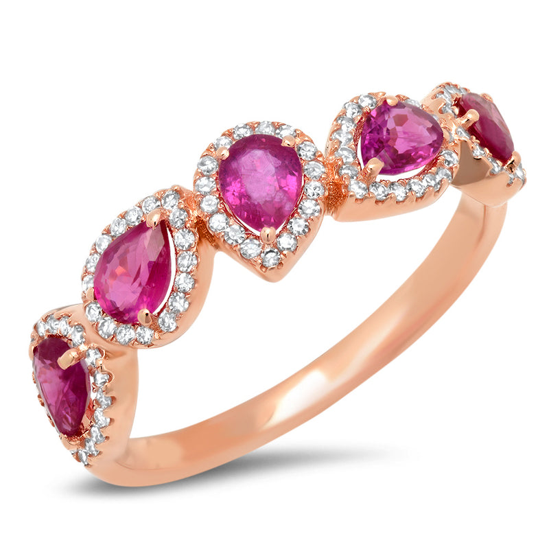 Diamond Multi Ruby Leaf Ring