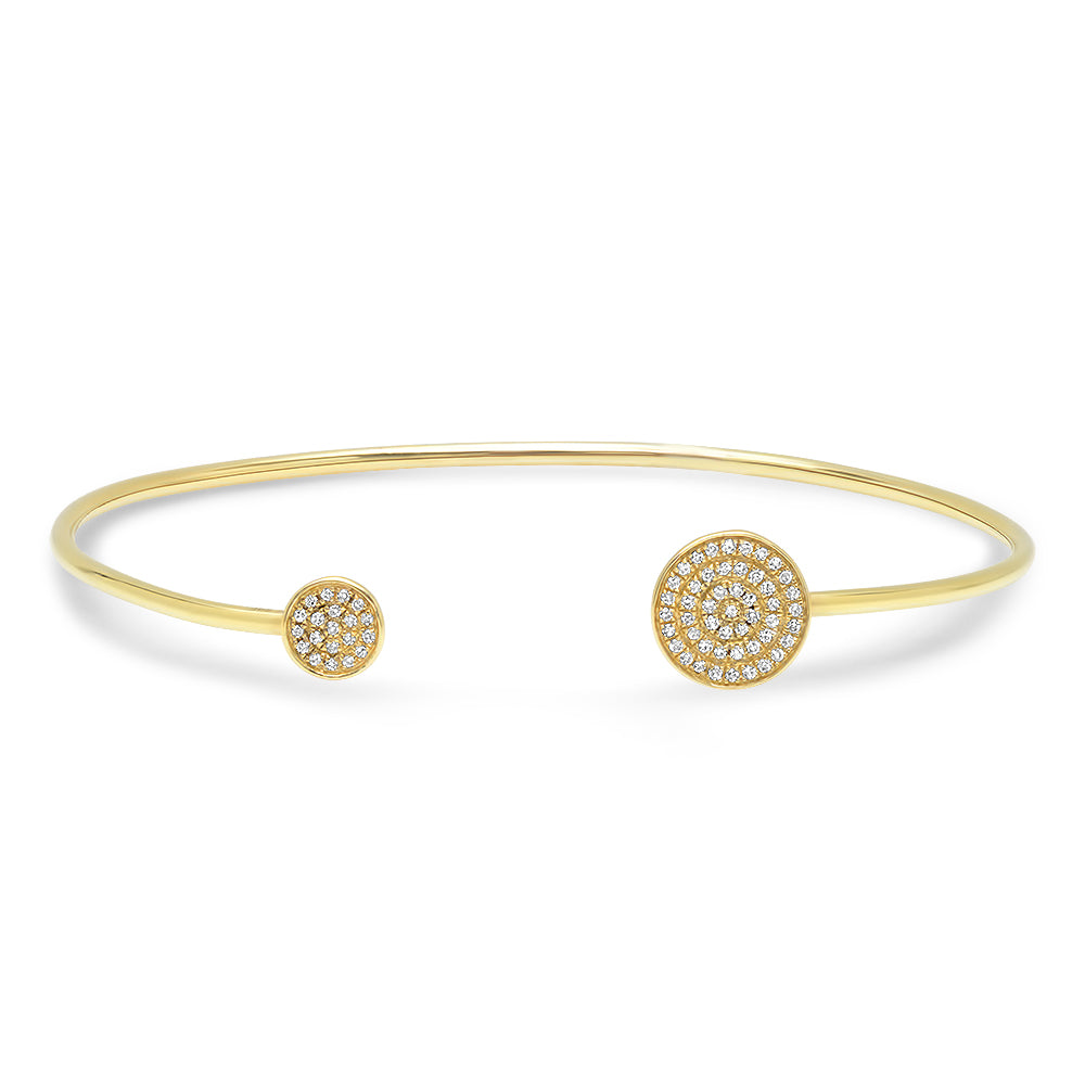 Double Disc Diamond S/M Open Bangle
