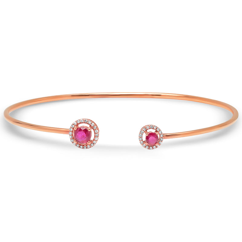 Diamond Ruby Circle Open Bangle
