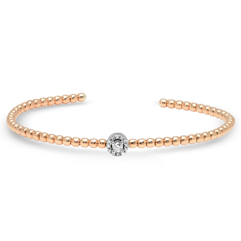 Diamond Halo Beaded Cuff Bangle