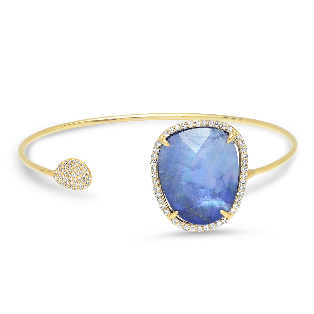 Diamond Shimmer Lapis Open Bangle