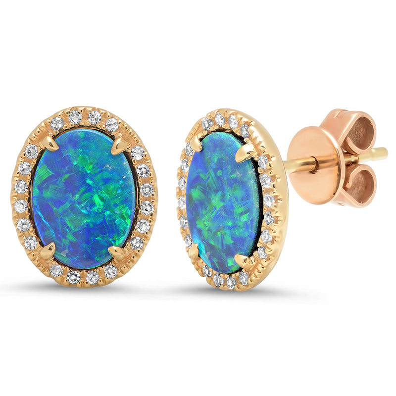 14k yellow gold diamond stud earrings opal