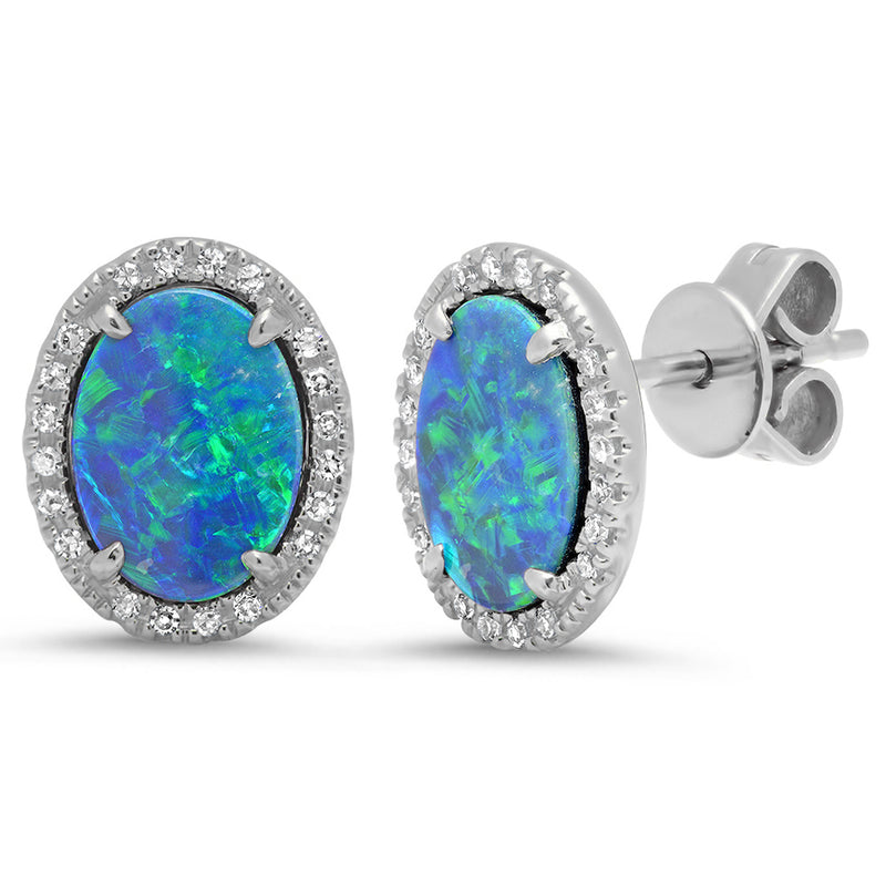 opal stud earring with diamonds