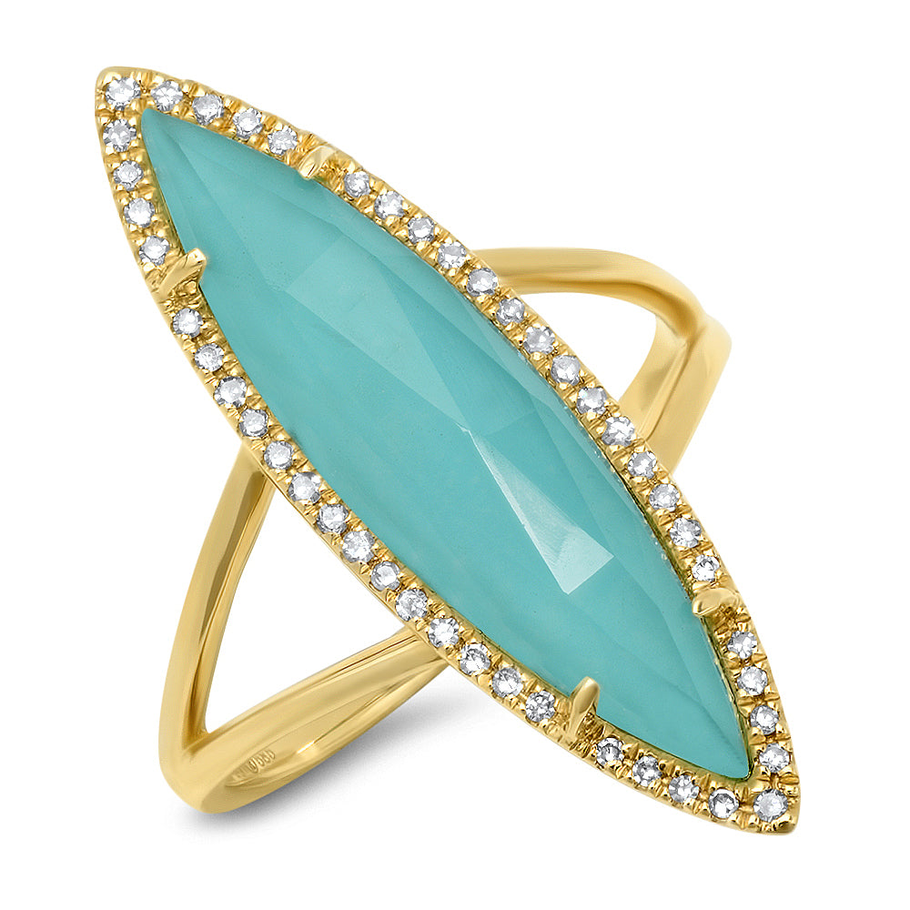 Diamond Turquoise Marquise Doublet Ring