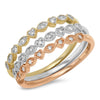 3 Row Diamond Beaded Band Ring