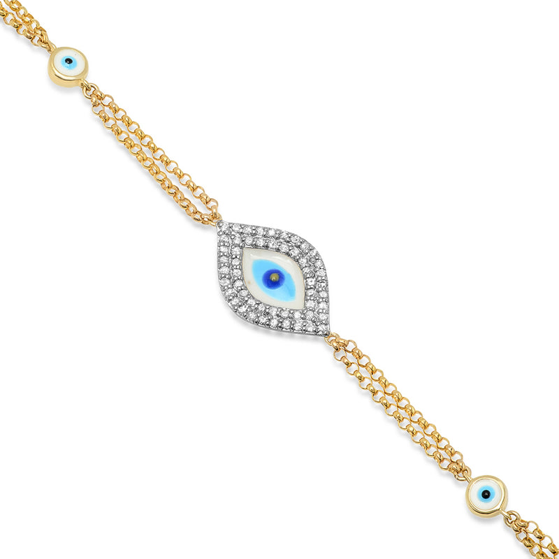 Double Chain Evil Eye Bracelet