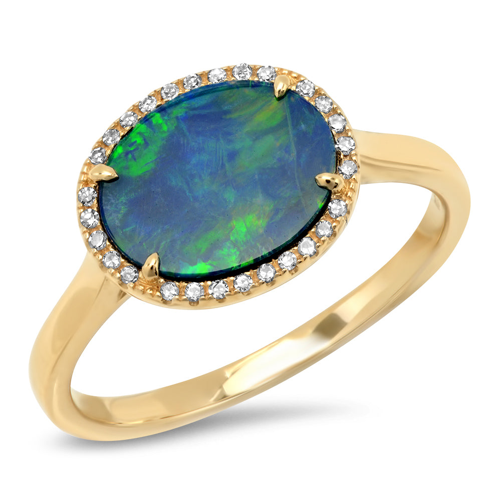 14k yellow gold diamond opal ring
