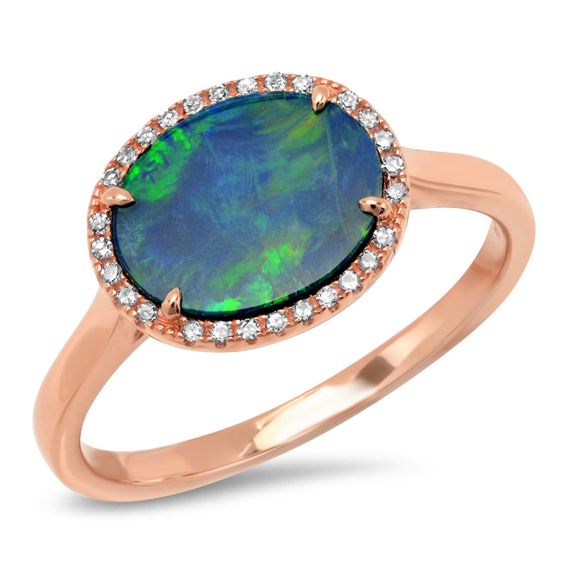 14k solid rose gold oval opal blue and green ring genuine diamond