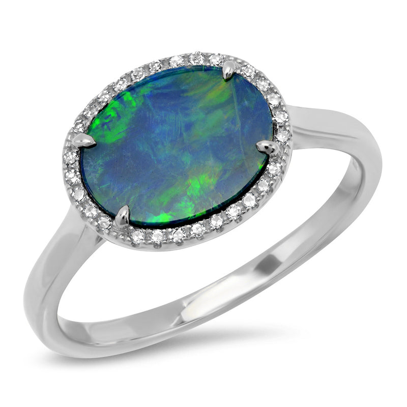 unique semi precious ring opal diamond stones