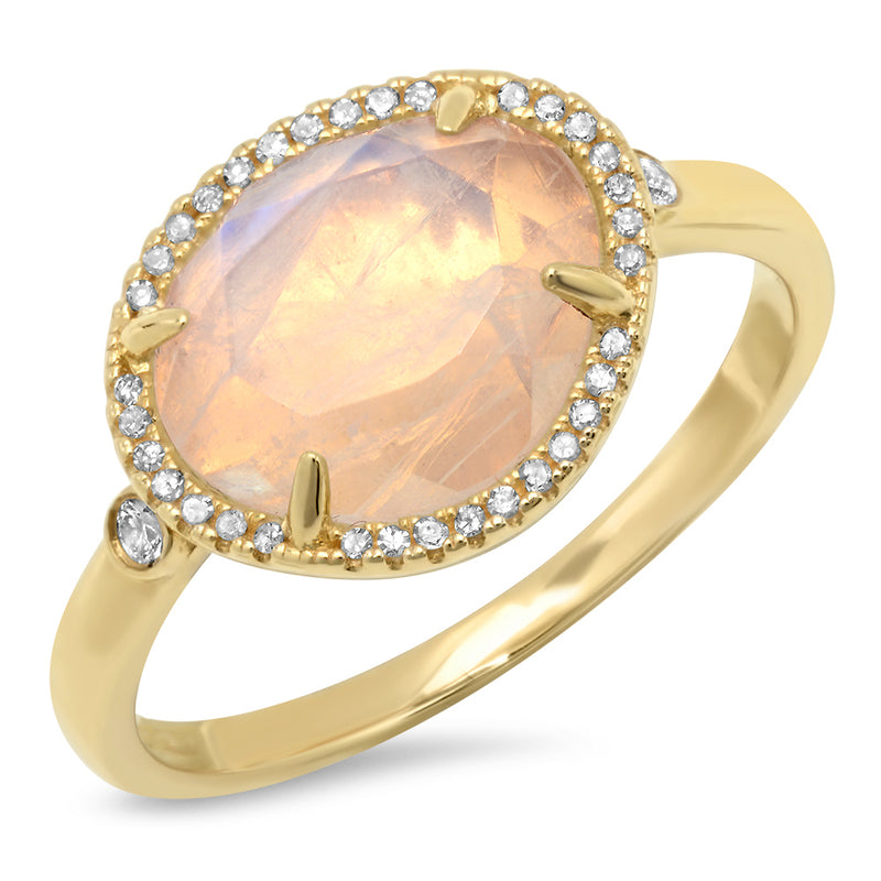 Diamond Moonstone Free Shape Ring