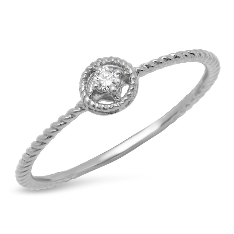 Mini Diamond Circle Roped Ring