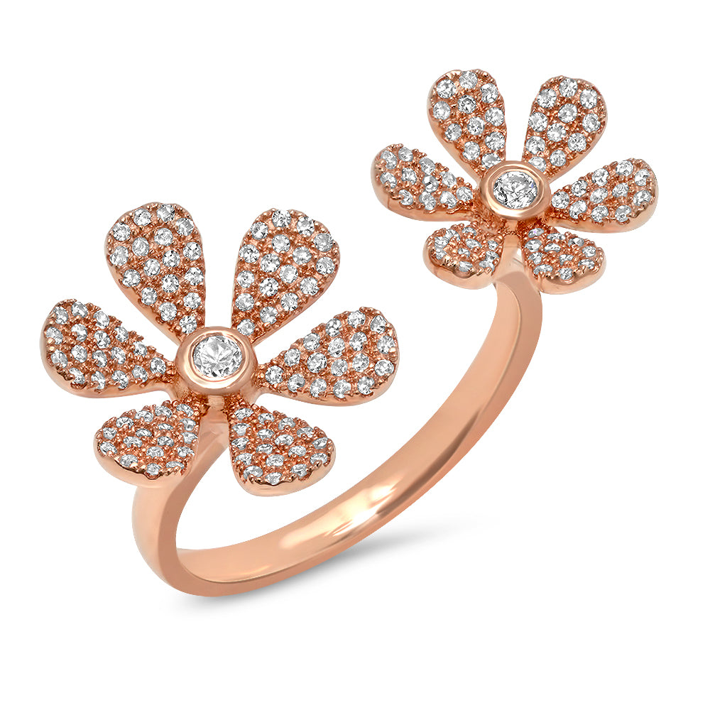 Double Flower Open Diamond RIng
