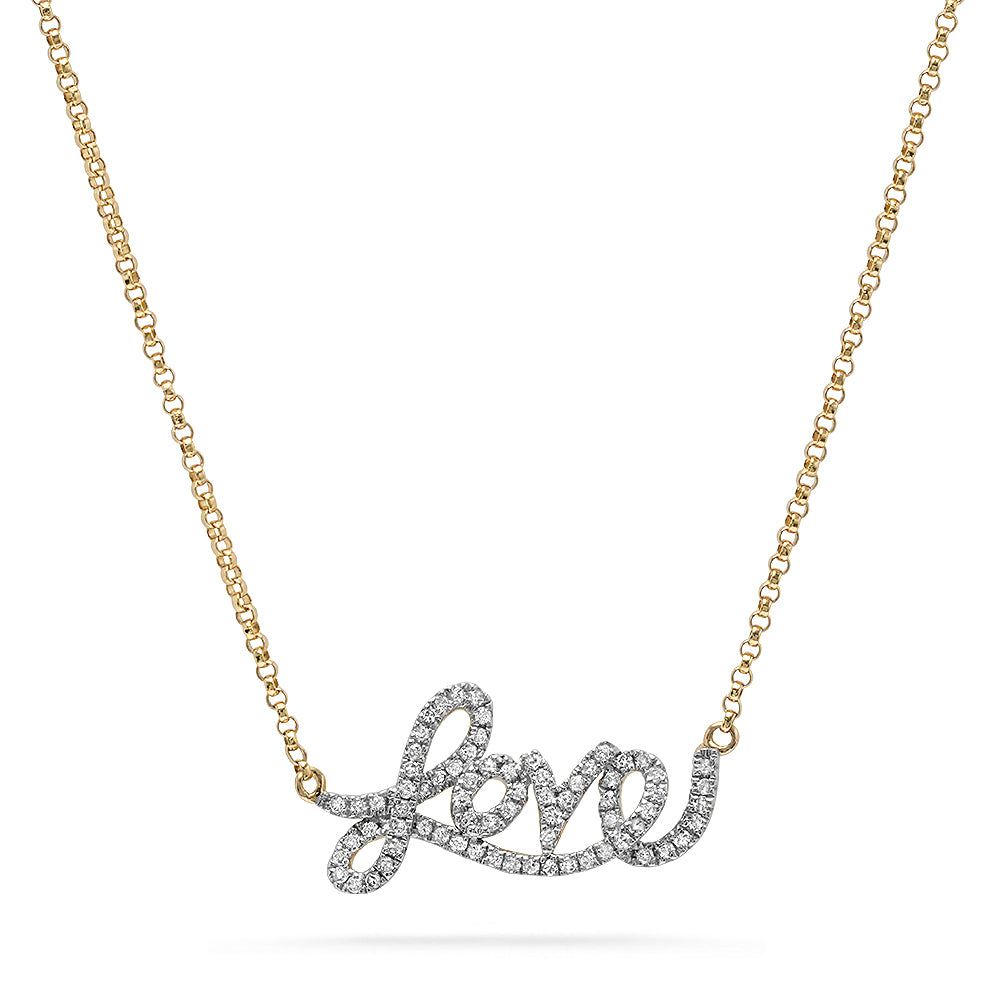 Diamond Script Love Necklace