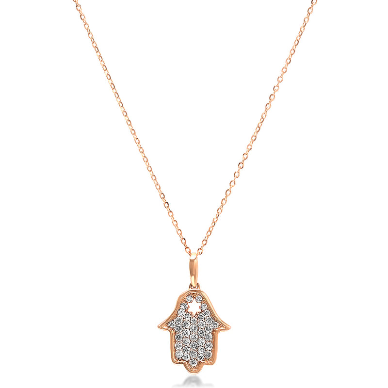 Diamond Hamsa Star Necklace