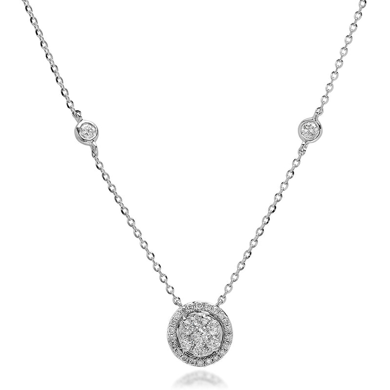 Diamond Halo Circle Necklace