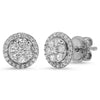14k white gold diamond halo stud