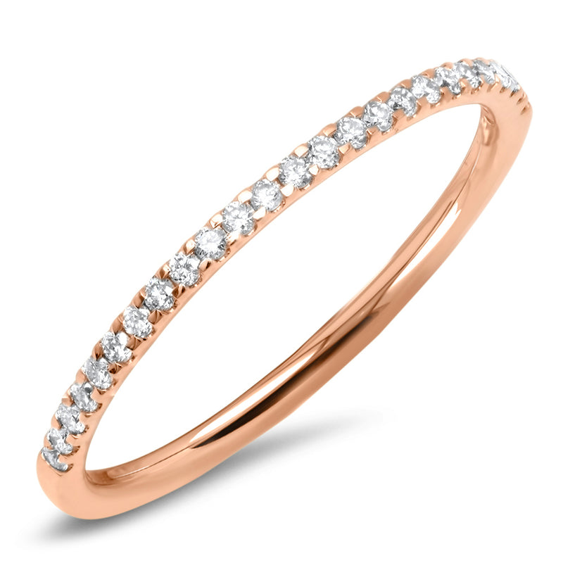 14k rose gold thin diamond stacking ring band