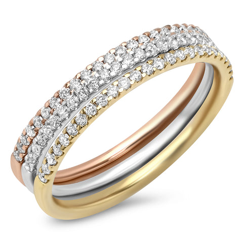 Diamond Rectangle Circle Stackable Ring
