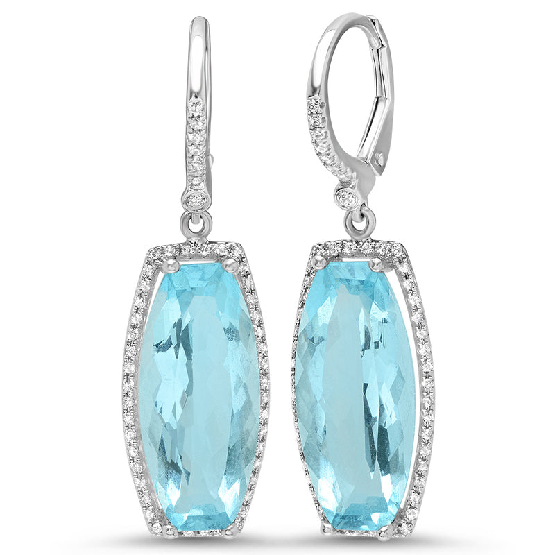 Diamond Blue Topaz Curved Earring