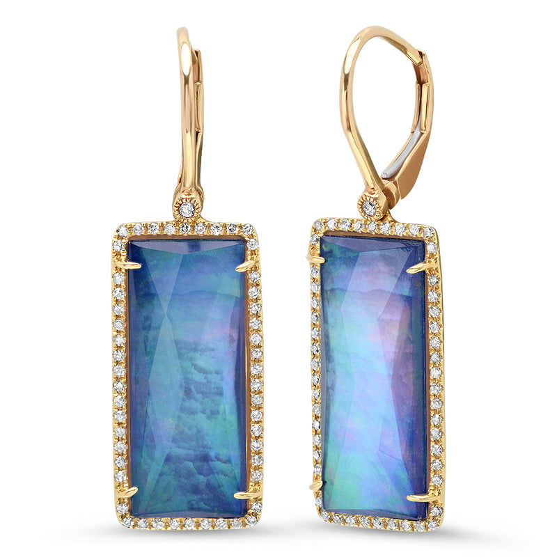 Diamond Rectangle Shimmer Lapis Doublet Earring