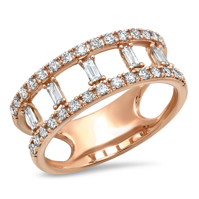 Double Band Diamond Baguette Ring