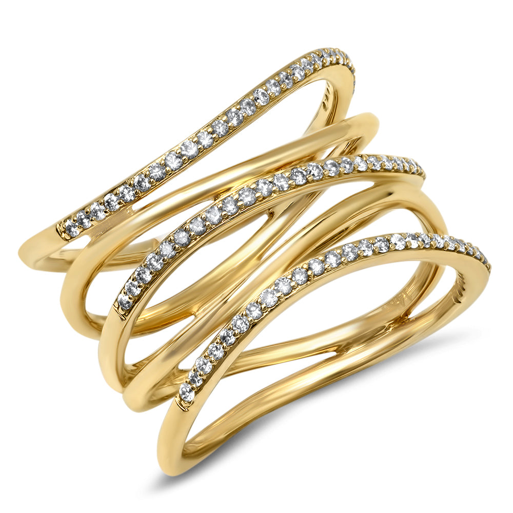 Diamond Banded Curve Ring