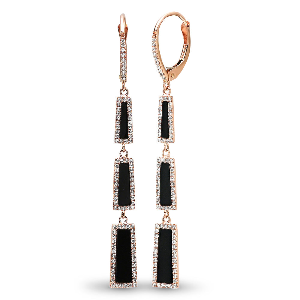 Diamond Black Onyx Rectangle Earring