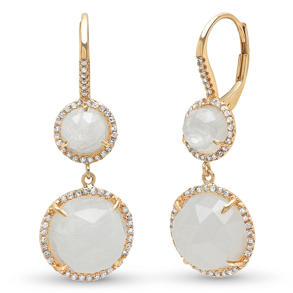 Diamond Moonstone Double Drop Earring