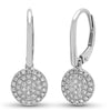 14k solid gold diamond disc pave hanging dangling hoop earring