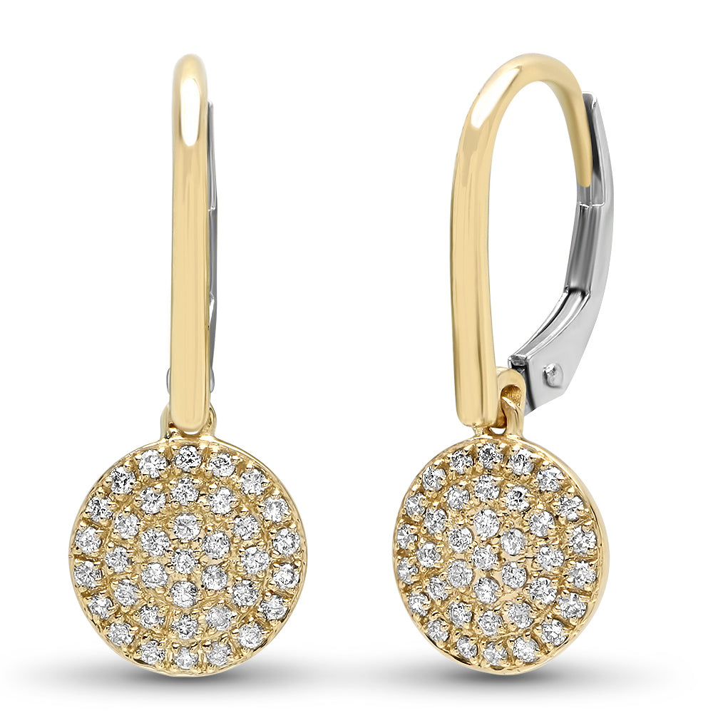 diamond disc earrings 14k yellow gold