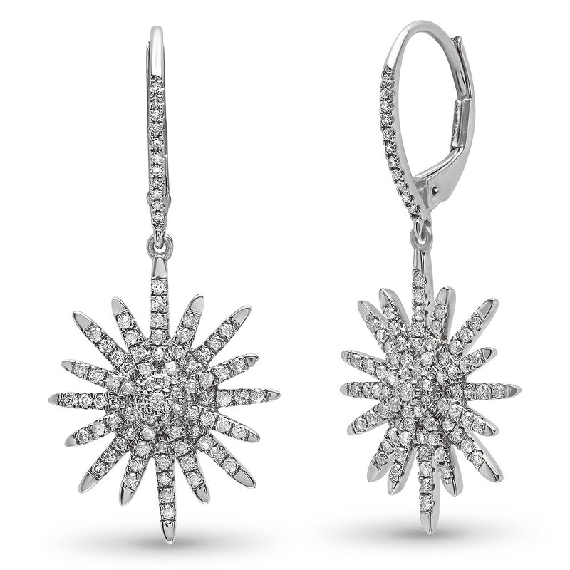 north star starburst star earrings with diamonds
