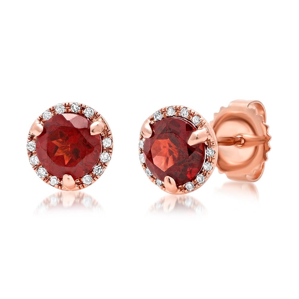 Diamond Round Garnet Stud Earring