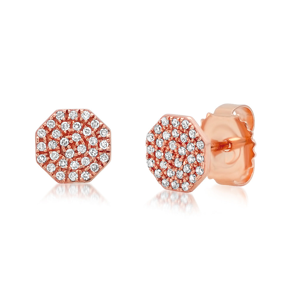 Diamond Octagon Stud Earring
