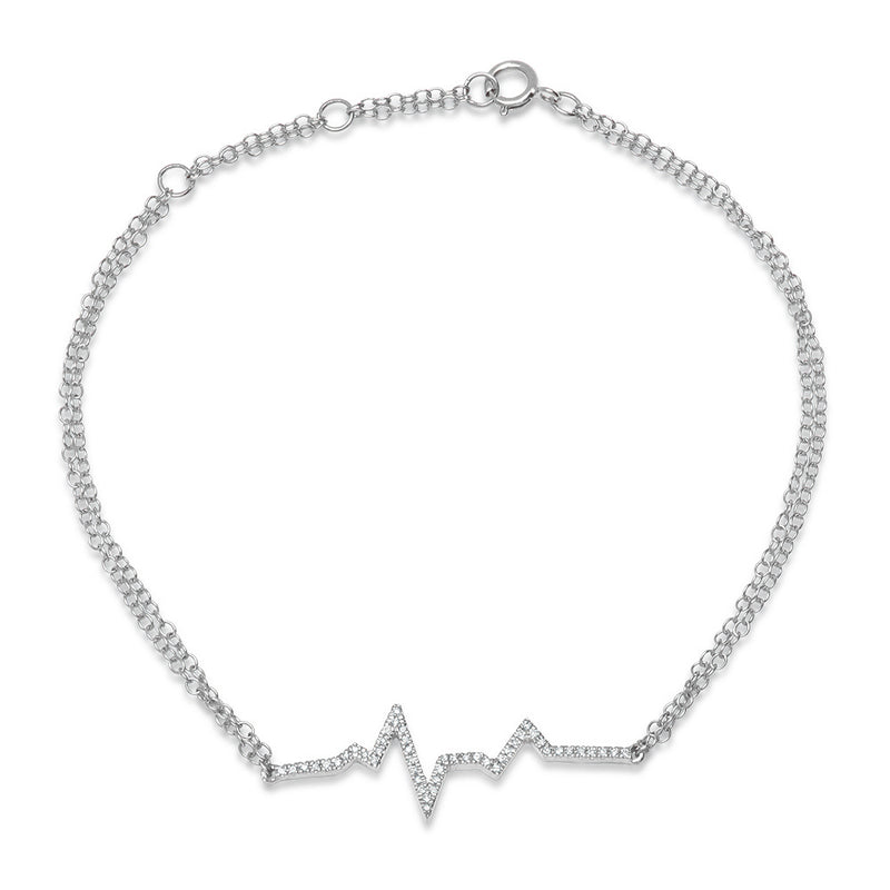 14k white gold dainty heartbeat ekg bracelet genuine diamond