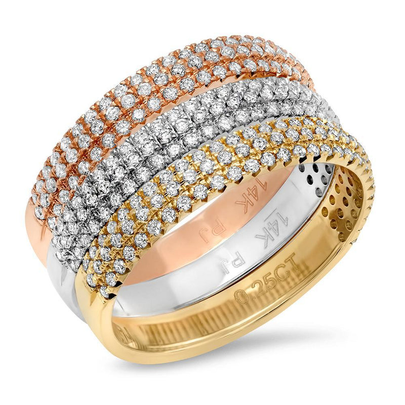 Tri Color Set- Three Row Diamond Band