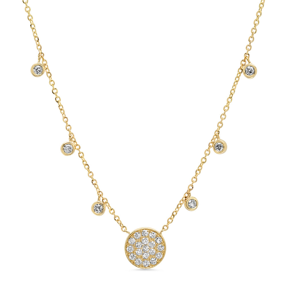 Diamond Disc Droplet Necklace