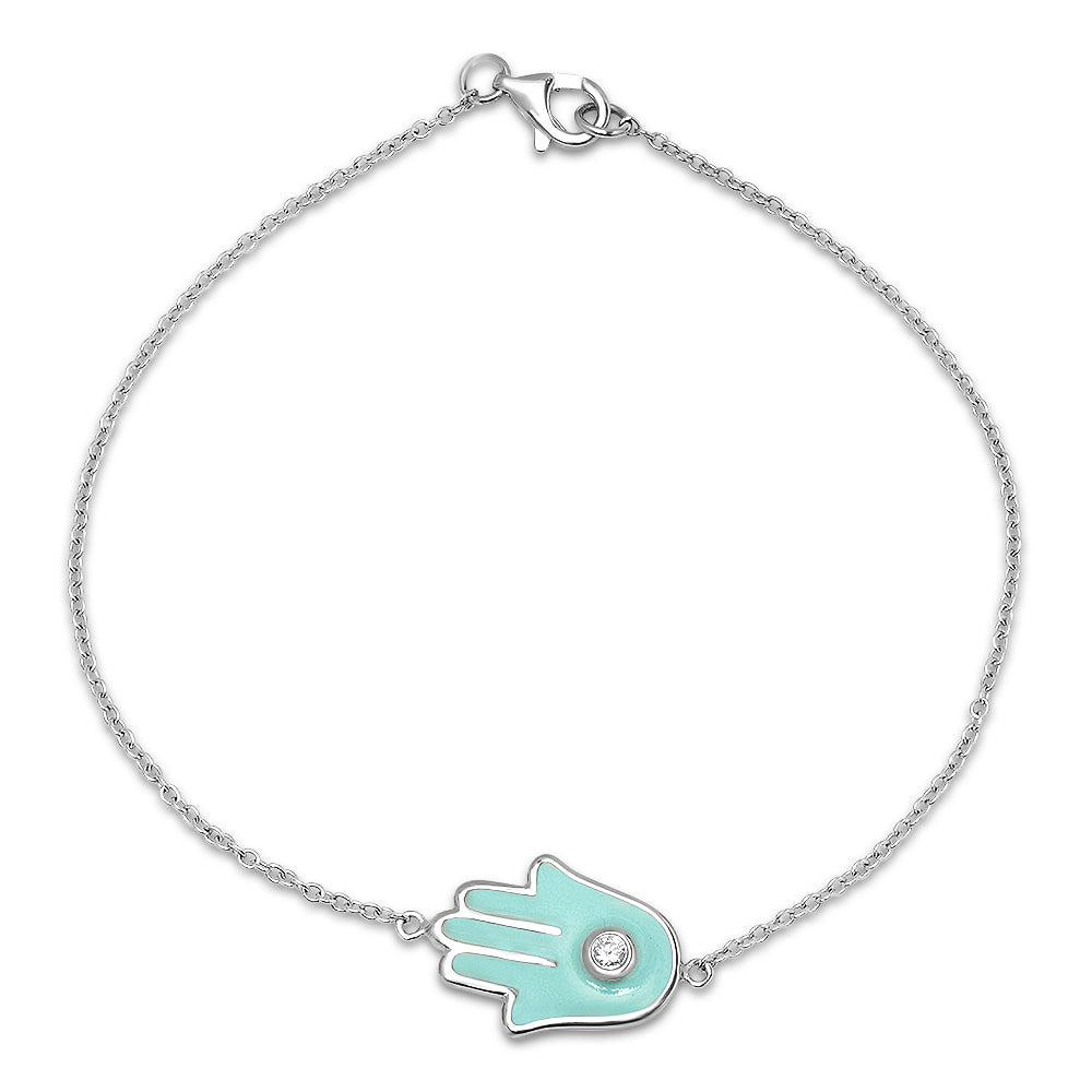 Diamond Hamsa Light Blue Enamel Bracelet