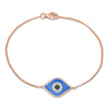 Diamond Evil Eye Blue Enamel Bracelet