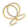 14k diamond real intertwined gold yellow gold chanel ring