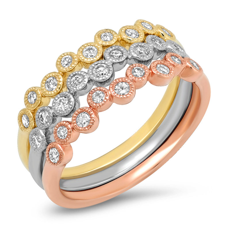 3 Stack Bubble Tri Color Ring Set